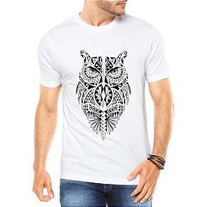Camiseta Masculina Coruja Tribal   - Personalizadas/ Customizadas/ Estampadas/ Camiseteria/ Estamparia/ Estampar/ Personalizar/ Customizar/ Criar/ Camisa Blusas Baratas Modelos Legais Loja Online