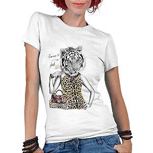 Camiseta Feminina Tigresa - Personalizadas/ Customizadas/ Estampadas/ Camiseteria/ Estamparia/ Estampar/ Personalizar/ Customizar/ Criar/ Camisa Blusas Baratas Modelos Legais Loja Online