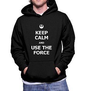 Moletom Casaco Star Wars Keep Calm and Use the Force Canguru Masculino -  Moletons Personalizados Blusa/ Casacos Baratos/ Blusão/ Jaqueta Canguru