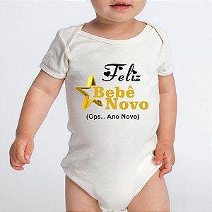 Body Bebe Frases Engraçadas Ano Novo Réveillon Branco Manga Curta - Roupinhas Macacão Infantil Bodies Roupa Manga Curta Menino Menina Personalizados