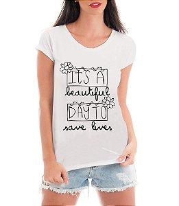 Camiseta Feminina  Blusa Grey's Anatomy Frases Save Lives Série Seriado - Frases Engraçadas Personalizadas/ Customizadas/ Estampadas/ Camiseteria/ Estamparia/ Estampar/ Personalizar/ Customizar/ Criar/ Camisa Blusas