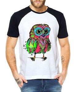Camiseta Masculina Raglan Coruja Psicodélica - Personalizadas/ Customizadas/ Estampadas/ Camiseteria/ Estamparia/ Estampar/ Personalizar/ Customizar/ Criar/ Camisa Blusas Baratas Modelos Legais Loja Online