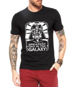 Camiseta Masculina Star Wars Darth Vader Greatest Dad in The Galaxy - Personalizadas/ Customizadas/ Estampadas/ Camiseteria/ Estamparia/ Estampar/ Personalizar/ Customizar/ Criar/ Camisa Blusas Baratas Modelos Legais Loja Online