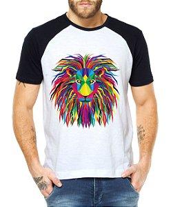Camiseta Masculina Raglan Leão Psicodélico - Personalizadas/ Customizadas/ Estampadas/ Camiseteria/ Estamparia/ Estampar/ Personalizar/ Customizar/ Criar/ Camisa Blusas Baratas Modelos Legais Loja Online