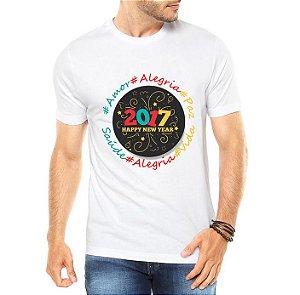 Camiseta Masculina Ano Novo 2017 Réveillon Happy New Year Branca - Personalizadas/ Customizadas/ Estampadas/ Camiseteria/ Estamparia/ Estampar/ Personalizar/ Customizar/ Criar/ Camisa Blusas Baratas Modelos Legais Loja Online