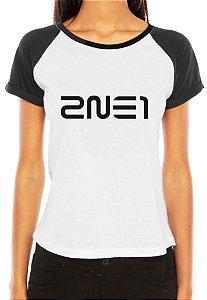 Camiseta Feminina Kpop Banda 2NE1 T shirt Blusa K-pop Raglan - Estampadas Camisa Blusas Baratas Modelos Legais Loja Online