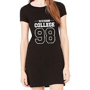 Vestido Curto da Moda Feminino Division College 98 - Simples para o Dia a Dia Básico de Malha Estampado Modelos Lindos e Baratos em Preto e Cinza Verão Comprar Loja Online Site Promoção Vestidos Casuais