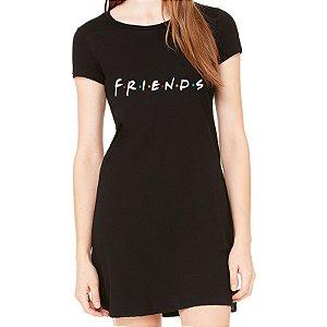 Vestido Curto da Moda Feminino Friends Série - Simples para o Dia a Dia Básico de Malha Estampado Modelos Lindos e Baratos em Preto e Cinza Verão Comprar Loja Online Site Promoção Vestidos Casuais
