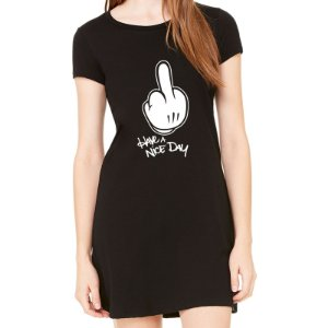 Vestido Curto da Moda Feminino Have Nice Day - Simples para o Dia a Dia Básico de Malha Estampado Modelos Lindos e Baratos em Preto e Cinza Verão Comprar Loja Online Site Promoção Vestidos Casuais