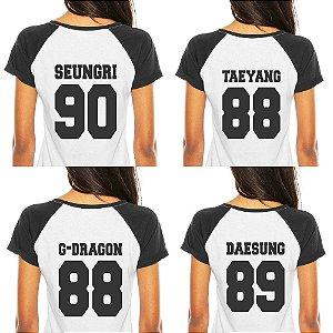 Camiseta Feminina Kpop Banda Big Bang Integrantes Daesung G-Dragon Seungri Taeyang Top T shirt K-pop Raglan - Estampadas Camisa Blusas Baratas Modelos Legais Loja Online