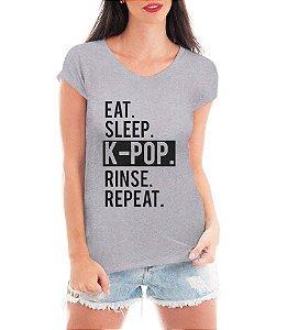 Camiseta Feminina Blusa Kpop K-Pop Repeat Blusa T shirt Cinza - Personalizadas/ Customizadas/ Estampadas/ Camiseteria/ Estamparia/ Estampar/ Personalizar/ Customizar/ Criar/ Camisa Blusas