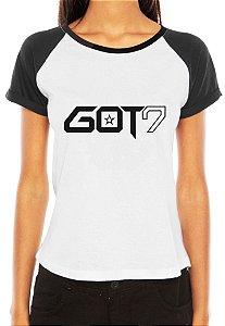 Camiseta Feminina Kpop Banda GOT7 T shirt Blusa K-pop Raglan - Estampadas Camisa Blusas Baratas Modelos Legais Loja Online
