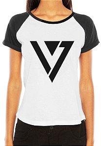 Camiseta Feminina Kpop Banda Seven Teen T shirt Blusa K-pop Raglan - Estampadas Camisa Blusas Baratas Modelos Legais Loja Online