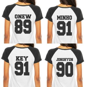Camiseta Feminina Kpop Banda Shinee Integrantes Jonghyun Key Minho Onew Taemin T shirt Blusa K-pop Raglan - Estampadas Camisa Blusas Baratas Modelos Legais Loja Online