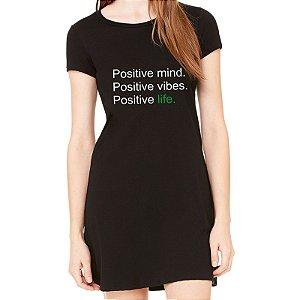 Vestido Curto da Moda Feminino Positive - Simples para o Dia a Dia Básico de Malha Estampado Modelos Lindos e Baratos em Preto e Cinza Verão Comprar Loja Online Site Promoção Vestidos Casuais