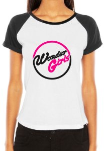 Camiseta Feminina Kpop Banda Wonder Girls T shirt Blusa K-pop Raglan - Estampadas Camisa Blusas Baratas Modelos Legais Loja Online
