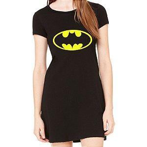 Vestido Curto da Moda Feminino Batman - Simples para o Dia a Dia Básico de Malha Estampado Modelos Lindos e Baratos em Preto Verão Comprar Loja Online Site Promoção Vestidos Casuais