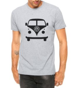 Camiseta Masculina Carro Antigo Cássico Kombi Cinza - Personalizadas/ Customizadas/ Estampadas/ Camiseteria/ Estamparia/ Estampar/ Personalizar/ Customizar/ Criar/ Camisa Blusas Baratas Modelos Legais Loja Online