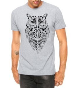 Camiseta Masculina Coruja Tribal Corpo Tattoo Cinza - Personalizadas/ Customizadas/ Estampadas/ Camiseteria/ Estamparia/ Estampar/ Personalizar/ Customizar/ Criar/ Camisa Blusas Baratas Modelos Legais Loja Online