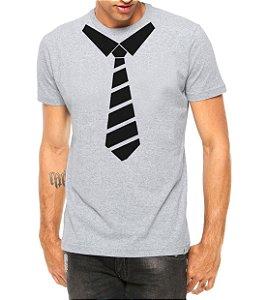 Camiseta Masculina Gravata Divertida Cinza - Personalizadas/ Customizadas/ Estampadas/ Camiseteria/ Estamparia/ Estampar/ Personalizar/ Customizar/ Criar/ Camisa Blusas Baratas Modelos Legais Loja Online
