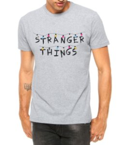 Camiseta Masculina Stranger Things Séries e Seriados Cinza - Personalizadas/ Customizadas/ Estampadas/ Camiseteria/ Estamparia/ Estampar/ Personalizar/ Customizar/ Criar/ Camisa Blusas Baratas Modelos Legais Loja Online