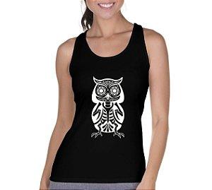 Camiseta Regata Feminina Coruja Esquelética Ossos - Personalizadas/ Customizadas/ Camiseteria/ Camisa T-shirts Baratas Modelos Legais Loja Online