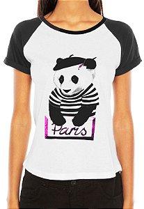 Camiseta Feminina Panda Pintor Paris Raglan - Personalizadas/ Customizadas/ Estampadas/ Camiseteria/ Estamparia/ Estampar/ Personalizar/ Customizar/ Criar/ Camisa Blusas Baratas Modelos Legais Loja Online