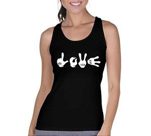 Camiseta Regata Feminina Hands Love - Personalizadas/ Customizadas/ Camiseteria/ Preta/ Camisa T-shirts Baratas Modelos Legais Loja Online