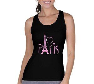 Camiseta Regata Feminina Paris Torre Eiffel Em Rosa - Personalizadas/ Customizadas/ Camiseteria/ Camisa T-shirts Baratas Modelos Legais Loja Online