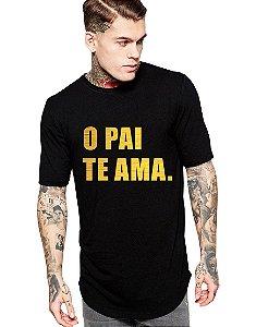 Camiseta Long Line Oversized Masculina O Pai Te Ama Letra Camisetas Barra Curvada - Camisetas Personalizadas/ Customizadas/ Estampadas/ Camiseteria/ Estamparia/ Estampar/ Personalizar/ Customizar/ Criar/ Camisa Blusas Baratas Modelos Legais Loja Online