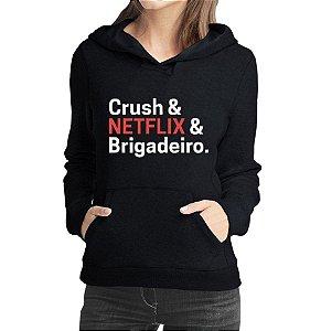 Moletom Feminino Crush Net Flix Brigadeiro Filmes e Séries - Moletons Personalizados Blusa/ Casacos Baratos/ Blusão/ Jaqueta Canguru