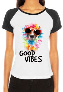 Camiseta Feminina Dog Cachorro Hawaii Good Vibes Engraçadas Divertidas Raglan - Personalizadas/ Customizadas/ Estampadas/ Camiseteria/ Estamparia/ Estampar/ Personalizar/ Customizar/ Criar/ Camisa Blusas Baratas Modelos Legais Loja Online