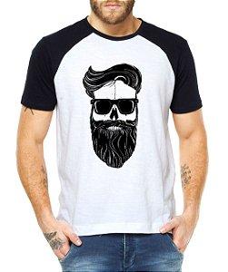 Camiseta Raglan Barba Cabelo Estilo Barbearia - Personalizadas/ Customizadas/ Estampadas/ Camiseteria/ Estamparia/ Estampar/ Personalizar/ Customizar/ Criar/ Camisa Blusas Baratas Modelos Legais Loja Online