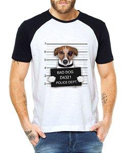 Camiseta Raglan Dog Cachorro Preso Divertida Engraçada - Personalizadas/ Customizadas/ Estampadas/ Camiseteria/ Estamparia/ Estampar/ Personalizar/ Customizar/ Criar/ Camisa Blusas Baratas Modelos Legais Loja Online