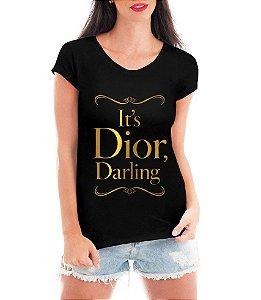 T-shirt Feminina Preta Dior Darling Dourada - Personalizadas/ Customizadas/ Estampadas/ Camiseteria/ Estamparia/ Estampar/ Personalizar/ Customizar/ Criar/ Camisa Blusas