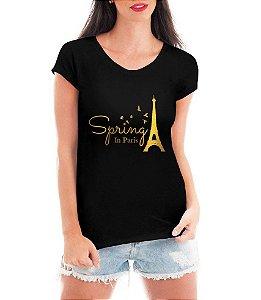 T-shirt Feminina Preta Paris Spring Dourada - Personalizadas/ Customizadas/ Estampadas/ Camiseteria/ Estamparia/ Estampar/ Personalizar/ Customizar/ Criar/ Camisa Blusas