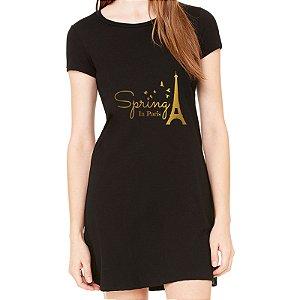 Vestido Preto Paris Spring - Simples para o Dia a Dia Básico de Malha Estampado Modelos Lindos e Baratos em Preto e Cinza Verão Comprar Loja Online Site Promoção Vestidos Casuais