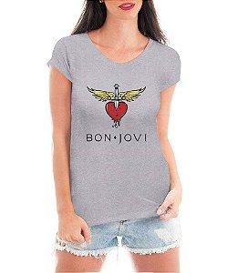 Camiseta Bon Jovi Cinza Feminina - Personalizadas/ Customizadas/ Estampadas/ Camiseteria/ Estamparia/ Estampar/ Personalizar/ Customizar/ Criar/ Camisa Blusas Baratas Modelos Legais Loja Online