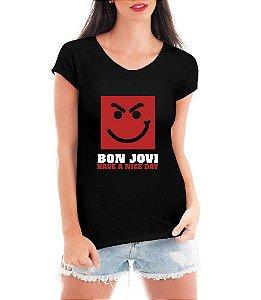 Camiseta Bon Jovi Feminina Preta - Personalizadas/ Customizadas/ Estampadas/ Camiseteria/ Esta - Personalizadas/ Customizadas/ Estampadas/ Camiseteria/ Estamparia/ Estampar/ Personalizar/ Customizar/ Criar/ Camisa Blusas Baratas Modelos Legais Loja Online