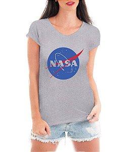 Camiseta Nasa Feminina Cinza Branco - Personalizadas  Customizadas   Estampadas  Camiseteria  Estamparia  28354463f27