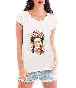 T-shirt Feminina Frida Kalho Branca - Personalizadas/ Customizadas/ Estampadas/ Camiseteria/ Estamparia/ Estampar/ Personalizar/ Customizar/ Criar/ Camisa Blusas Baratas Modelos Legais Loja Online