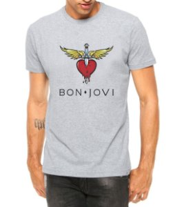 Camiseta Bon Jovi Cinza - Personalizadas/ Customizadas/ Estampadas/ Camiseteria/ Estamparia/ Estampar/ Personalizar/ Customizar/ Criar/ Camisa Blusas Baratas Modelos Legais Loja Online