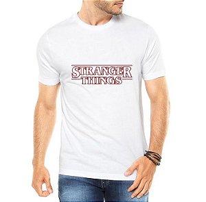 Camiseta Branca Masculina Stranger Things nome - Personalizadas/ Customizadas/ Estampadas/ Camiseteria/ Estamparia/ Estampar/ Personalizar/ Customizar/ Criar/ Camisa Blusas Baratas Modelos Legais Loja Online