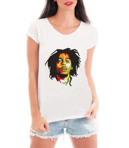 T-shirt Feminina Bob Marley Reggae - Personalizadas/ Customizadas/ Estampadas/ Camiseteria/ Estamparia/ Estampar/ Personalizar/ Customizar/ Criar/ Camisa Blusas Baratas Modelos Legais Loja Online