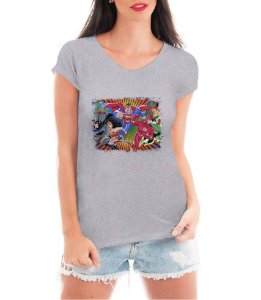 T-shirt Feminina Liga da Justiça Super Heróis League Justice Branca Cinza - Personalizadas/ Customizadas/ Estampadas/ Camiseteria/ Estamparia/ Estampar/ Personalizar/ Customizar/ Criar/ Camisa Blusas Baratas Modelos Legais Loja Online