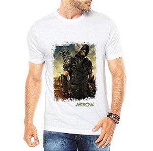 Camiseta Branca Masculina Arrow Arqueiro Seriado Série - Personalizadas/ Customizadas/ Estampadas/ Camiseteria/ Estamparia/ Estampar/ Personalizar/ Customizar/ Criar/ Camisa Blusas Baratas Modelos Legais Loja Online