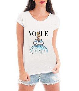 T-shirt Feminina Vogue Cinderela Princesa - Personalizadas/ Customizadas/ Estampadas/ Camiseteria/ Estamparia/ Estampar/ Personalizar/ Customizar/ Criar/ Camisa Blusas Baratas Modelos Legais Loja Online