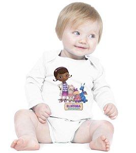 Body Branco Doutora Brinquedos Desenho Manga Longa - Roupinhas Macacão Infantil Bodies Roupa Manga Longa Menino Menina Personalizados