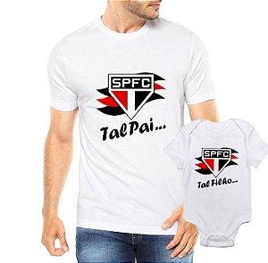Camiseta Tal Pai tal filha SPFC Futbol Futebol Time Dia Dos Pais - Personalizadas/ Customizadas/ Estampadas/ Camiseteria/ Estamparia/ Estampar/ Personalizar/ Customizar/ Criar/ Camisa Blusas Baratas Modelos Legais Loja Online