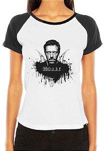Camiseta Blusa Branca Raglan Dr.House - Série Seriado/ Customizadas/ Estampadas/ Camis - Personalizadas/ Customizadas/ Estampadas/ Camiseteria/ Estamparia/ Estampar/ Personalizar/ Customizar/ Criar/ Camisa Blusas Baratas Modelos Legais Loja Online